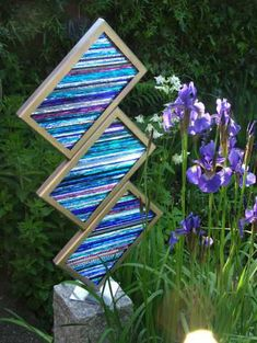 Brushed steel. glass splinters. Abstract or Modern Garden / Yard #sculpture by #sculptor Jane Bohane titled: 'Staccato' #art