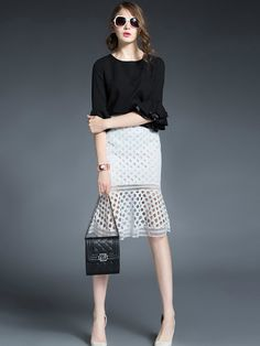 Couture Style Black and White! Chic White Hollow Out Dots Ruffle Skirt Fashion #Couture #Style #Black_and_White #Dots #Skirts #Winter #Fashion #Outfit_Ideas