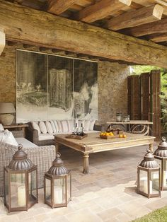 lanterns on the patio, rustic house in the mountains of Spain