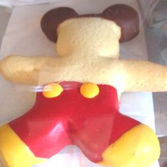 Mickey Red Shorts sugar cookie at the Market House, Disneyland. $3.95. New to us and super cute!