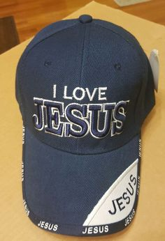a9f8fcb7704 Blue Cap I LOVE JESUS Embroidered in White NEW With Tag Hat Jesus on Bill  Brim  CAP  BaseballCap