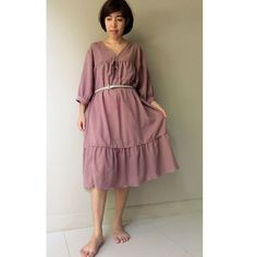 Tulip Pink  Soft & Sheer Cotton Boho Loose V-Neck Tunic by siam2u