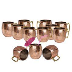 Amazon.com | DakshCraft ® Copper Hammered Dutch Style Lacquered Finish Mug, Set of 12: Beer Mugs & Steins