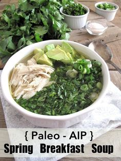 Wholesome Meals AIP / Spring Breakfast Chicken Soup – Slow Cooker Paleo Recipe - This recipe is autoimmune protocol compliant. You will need a slow cooker of capacity to make this recipe. Dieta Paleo, Comidas Paleo, Chicken Soup Slow Cooker, Chicken Soup Recipes, Chicken Soups, Chicken Ideas, Recipe Chicken, Breakfast Soup, Paleo Breakfast