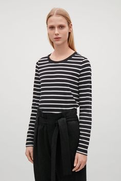 COS image 4 of Long-sleeve top with curved hem in Black