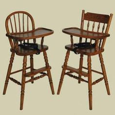 Redux Antique High Chairs - Colonial Bow-Back (left) and Acorn-Back (right) Windsor High Chairs. Caringly hand-built & hand-finished by Mennonite & Amish craftsmen. Available in premium hardwoods and a full range of durable finish colors. Bow Back high chair at http://www.mennonite-furniture-studios.com/Amish-Heritage-Colonial-Bow-Back-Windsor-High-Chair/  and Acorn Back high chair at http://www.mennonite-furniture-studios.com/Amish-Heritage-Colonial-Bow-Back-Windsor-High-Chair/