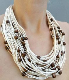 Bold Necklace, Summer Necklace, Beaded Statement Necklace, White Necklace, Knot Necklace, Rope Jewelry, Chunky Jewelry, Jewelry Making Beads, Jewellery