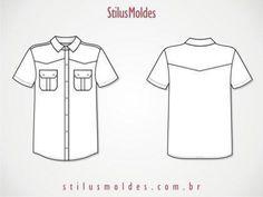 molde de camisa de botão masculina manga curta