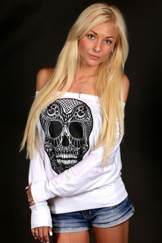 Skull Off Shoulder Long Sleeve - LHDC Clothing