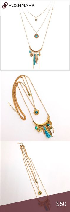 NWT Breathtaking Three Strand Turquoise Necklace This necklace is one of the most prettiest pieces in my closet! It is exquisite! It all kinds of charms dangling from it! It has beads, tassels, Rhinestones and more on a long chain! It is a fun necklace! Boutique Jewelry Necklaces