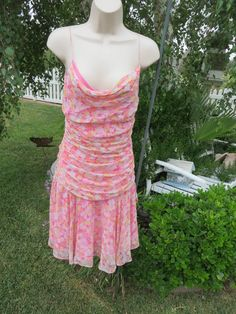 MAGGY LONDON DRESS Silk Pinks  SIZE 4 Ruche 39613 Spring Summer #MaggyLondon #MULTI #Cocktail