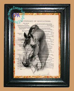 Portrait of a Horse Art - - Vintage Dictionary Book Page Art-Upcycled Page Art,Wall Art,Collage Art, Equine Art - Horse Print by CocoPuffsArt on Etsy