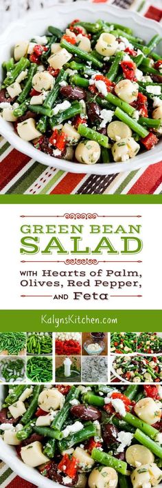 Green Bean Salad with Hearts of Palm, Olives, Red Pepper, and Feta is a great summer side dish that's low-carb, Keto, low-glycemic, gluten-free, meatless, and South Beach Diet Phase One. This salad is perfect with any kind of grilled chicken, beef, or pork, but it's especially good with my hugely popular Very Greek Grilled Chicken; try it! [found on KalynsKitchen.com]