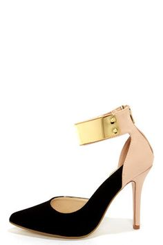 OOO sexy color block with gold accent.. so hot - Anne Michelle Momentum 41 Black and Nude D'orsay Heels at LuLus.com!