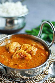 Prawn Masala Curry - South Indian Style ~ My Kitchen Experiments indian food recipes Prawn Recipes, Spicy Recipes, Curry Recipes, Fish Recipes, Seafood Recipes, Indian Food Recipes, Asian Recipes, Cooking Recipes, Prawn Masala