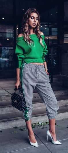 Monse Glen Plaid Jogger Pant (similar here and here), Upside Down Cropped Knit (similar here and here) | Off White White For Walking 115 Pumps (similar here and here) | Valentino Rockstud Spike Medium Quilted Leather Shoulder Bag (similar here and here) #valentinobag #valentinorockstud
