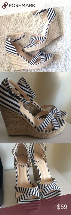 Nine West wedges So adorable! They're blue and white striped canvas material. They have espadrille/rope sides and bottom. They have an adjustable ankle strap. They have a 1 inch platform and 5 inch heel. Brand new. Nine West Shoes Wedges