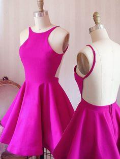 A-Line Scoop Backless Short Fuchsia Satin Homecoming Dress @veenrol #homecomingdress #under100 #fuchsiadress #shortdress #backlessdress #alinedress #aline