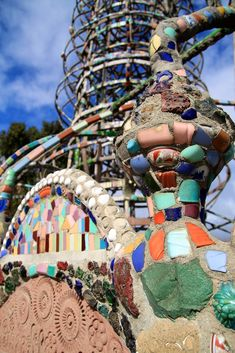 CALIFORNIA ~ Watts Towers in Los Angeles. One of America's most famous works of folk art. Creator Sam Rodia, an immigrant construction worker, built Watts Towers in his spare time, from