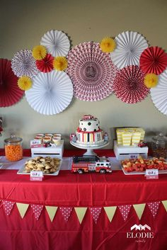 Incredible firetruck birthday party dessert table! See more party planning ideas at CatchMyParty.com!