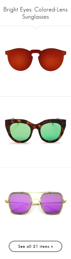 """""""Bright Eyes: Colored-Lens Sunglasses"""" by polyvore-editorial ❤ liked on Polyvore featuring coloredlenssunglasses, accessories, eyewear, sunglasses, red round sunglasses, round metal frame sunglasses, red sunglasses, round metal sunglasses, illesteva and mirrored sunglasses"""