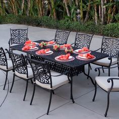 Astoria Grand Archway 9 Piece Metal Dining Set with Cushions Metal Patio Furniture, Outdoor Dining Furniture, Outdoor Dining Set, Patio Dining, Outdoor Decor, Dining Table, Outdoor Living, Patio Tables, Outdoor Lounge