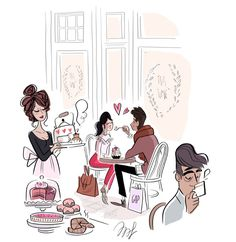 Love in a Tea Room / Amore in una sala da Té - Art by Magalie Foutrier Illustration Mignonne, Art Et Illustration, Art Mignon, Cute Images, Cute Drawings, Cute Art, Illustrators, Street Art, Character Design