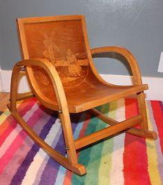 Vintage Antique Wooden Baby Toddler Children's Rocking Chair 50's 60's Design | eBay