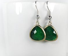 earrings, silver earrings, green earrings