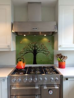 This gorgeous fused glass art is another tree of life design, with an olive green background and orange highlights Backsplash Tile, Tiles, Kitchen Ideas, Kitchen Design, Glass Splashbacks, Orange Highlights, Orange Kitchen, First Apartment, Fused Glass Art