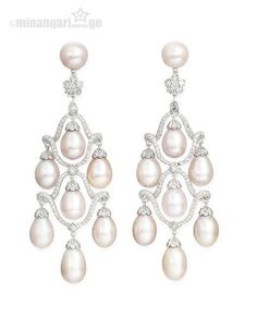 Cultured pearl and diamond ear pendants, Michael Youssoufian. Pearl Jewelry, Indian Jewelry, Wedding Jewelry, Fine Jewelry, Jewellery Box, Mexican Jewelry, Wedding Rings, Diamond Earing, Pearl And Diamond Earrings