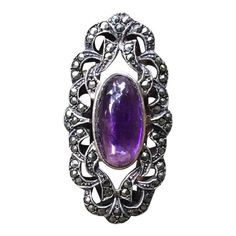 Pretty Estate Cabochon Amethyst And Marcasite Ring Nail Guards, Jewelry Rings, Fine Jewelry, Marcasite Ring, Victorian Jewelry, Carnelian, Filigree, Amethyst, Gemstone Rings