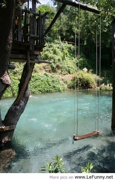 A swimming pool that was made to look like a river.