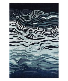 This Navy Abstract Wave Wool Rug is perfect! #zulilyfinds