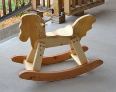 Pine Rocking Horse hand rubbed with Danish oil Wooden Rocker, Handmade Wooden Toys, Wooden Horse, Gross Motor Skills, Christmas 2015, Pallet Projects, Rocking Chair, Toy Chest, Pine