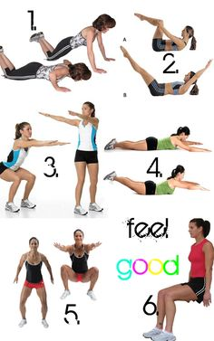 20 knee push-ups 20 frog crunches 40 swifel squats 5 times 5 seconds superman 30 knee tuck jumps 40 second wall sit Fitness Tips, Health Fitness, Fitness Challenges, Crunches, Squats, Superman Workout, Fat Girl Problems, Workout Challenge, Workout Ideas