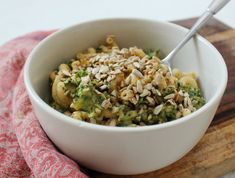 faux mac n' cheese: fusilli with a creamy kale and sweet potato sauce.