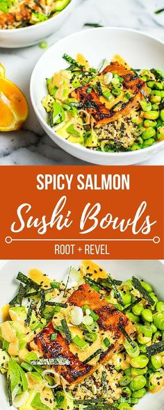 Easy + super healthy, salmon sushi bowls are full of classic sushi flavors (soy, wasabi, seafood, spicy mayo, seaweed + rice), plus gluten-free + delicious!