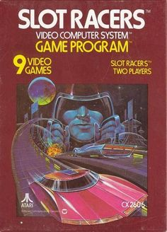 Slot Racers is a 1978 video game cartridge for the Atari 2600 video game console. It was developed by Warren Robinett, who also went on to develop one of Atari's most successful games for the Adventure. Vintage Video Games, Classic Video Games, Retro Video Games, Retro Games, Retro Toys, Atari Video Games, Video Game Music, Space Invaders, Arcade Retro