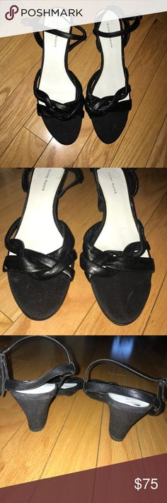 ETIENNE AIGNER  BLACK LEATHER & CLOTH SHOES *NWT* 👄ETIENNE AIGNER  BLACK LEATHER & CLOTH SHOES *NWT* Woman's size 9.5 MEDIUM - leather upper , side adjustable strap . No box . Never worn - small blemish on left shoe from storing . The leather front is baby soft so these should be really comfy . Perfect for nights out . #Paris #designershoes #blackshoes Etienne Aigner Shoes Heels