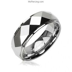 Tungsten Carbide Faceted Ring With Drop Down Edges #mspiercing #piercings