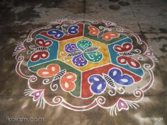 Rangoli 13 to 7 intermediate dots.: Butterfly rangoli, New. by revathiilango