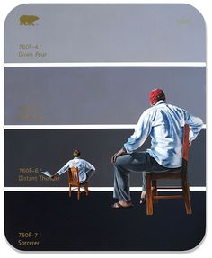 """""""The Paint Chip Series"""" paintings of people on paint chips by Shawn Huckins"""