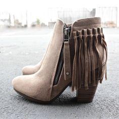 suede boho fringe ankle boots - $52