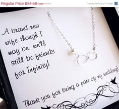 ON SALE Bridesmaid thank you card with infinity charm. by BriguysGirls, $26.78