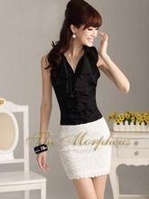 Black Sleeveless Vintage Lady Ruffle Collar Trendy Shirt/top