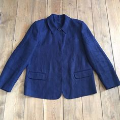UK SIZE 12 WOMENS HOBBS NAVY BLUE LINEN BOX JACKET #Hobbs #Boxy