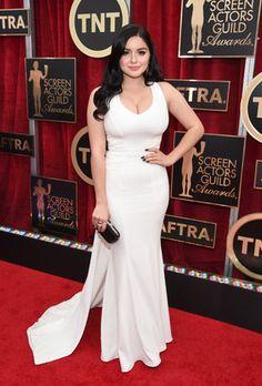 SAG Awards Red Carpet 2015 -- Ariel Winter in ZAC Zac Posen designed white beautiful gown.