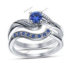 Blue Sapphire 4 Prong Bypass Shank 925 Silver Wedding Band + Ring Bridal Set #br925