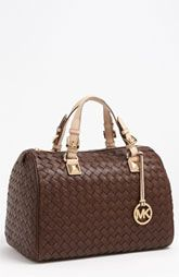 MICHAEL Michael Kors 'Grayson - Large' Leather Satchel available at Nordstrom Stylish Handbags, Mk Handbags, Best Handbags, Handbags Michael Kors, Fashion Handbags, Purses And Handbags, Fashion Bags, Leather Handbags, Runway Fashion